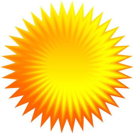 Set of orange geometric sunburst, starburst background