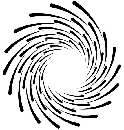 inwards: Spiral element. Concentric swirling shape with lines rotating inwards. Helix, volute illustration.