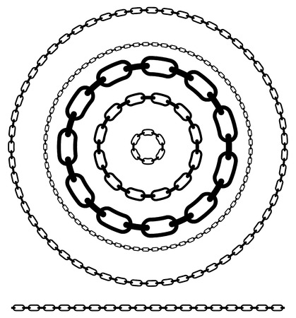 linkage: Simple flat chain link, chain illustration. Silhouette of a chain.