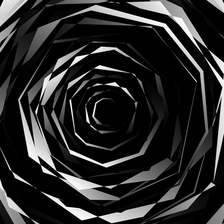 circling: Edgy spirally texture. Abstract monochrome, geometric pattern.