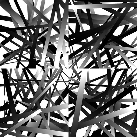 interlace: Scattered, random lines. Set of 4 patterns, monochrome abstract geometric illustrations.