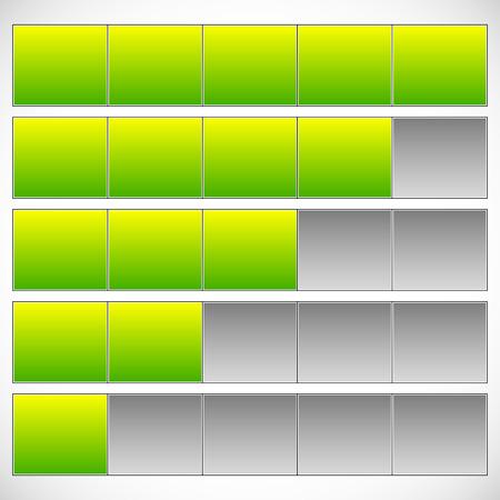 Fortschritt, Schritt, Phase-Indikatoren. Einfache 5-Schritt-Fortschrittsbalken. Vektorgrafik