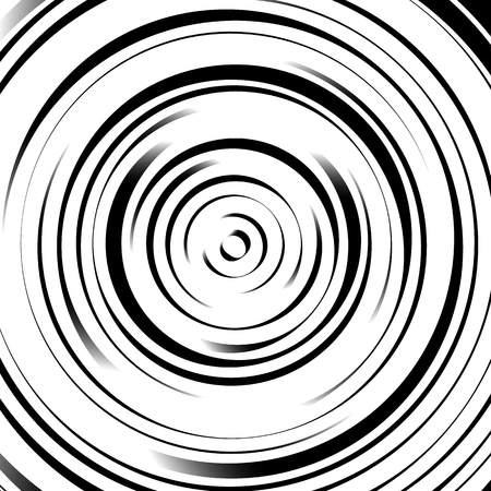 Radial concentric circles with irregular, dynamic lines. Abstract pattern with rotating, spiral effect.