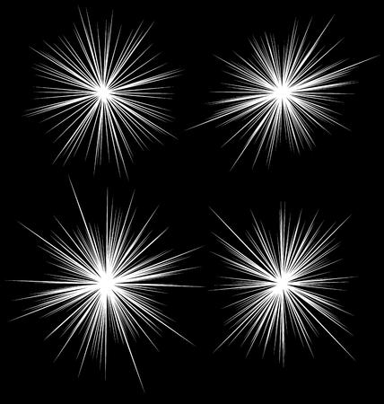 ilustration: Set of flash, glare elements. Radial burst lines. 4 variation.