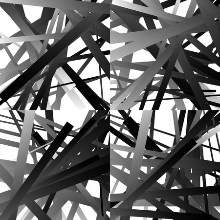 intersecting: Scattered, random lines. Set of 4 patterns, monochrome abstract geometric illustrations.