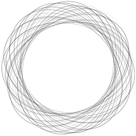 abstract scribble: Concentric irregular circles, circular element with random scribble, sketchy feel. Abstract geometric element