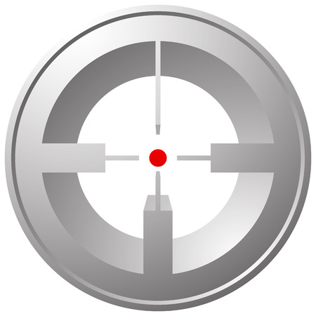 marksmanship: Target mark, reticle, crosshair icon for focus, accuracy, targeting concepts. Illustration