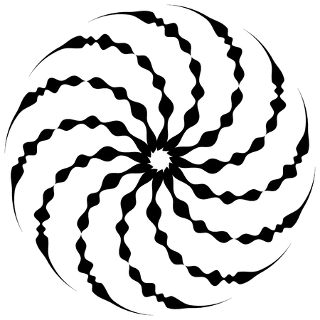 eddy: Spiral shape on white. Curved lines rotating from a centric point forming a circle. Abstract geometric element. Vortex, swirl illustration.