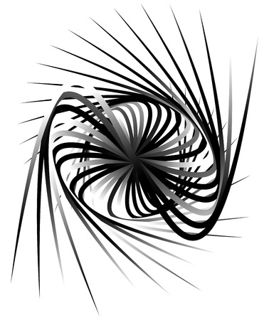 distortion: Dynamic lines with spiral distortion. Abstract monochrome geometric element. Asymmetric vortex, helix element.