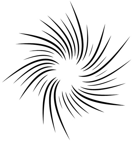cuve: Radial, radiating lines with rotation, spiral effect. Abstract element isolated on white. Illustration