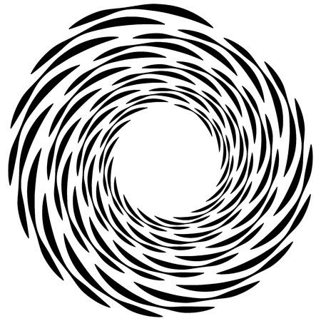 cíclico: elemento en espiral. forma de remolino concéntrico con líneas que giran hacia el interior. Hélice, espiral ilustración.