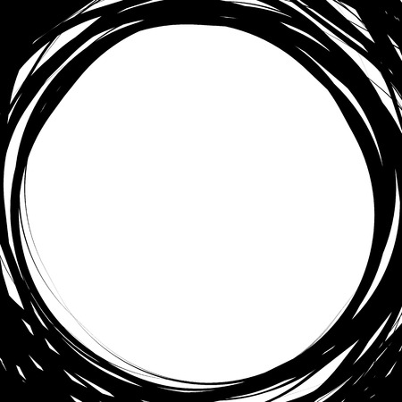 scrawl: Random scribble circles. Concentric circles in a hand drawn style. Abstract circular element.