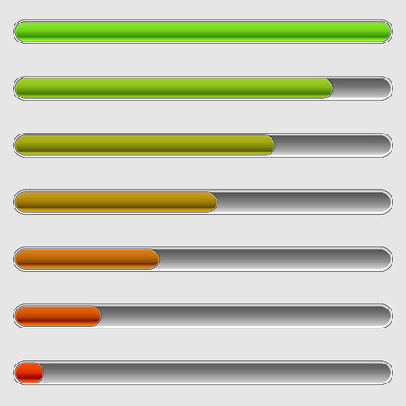 benchmark: Horizontal progress bars. Completion, loading, phases concepts.