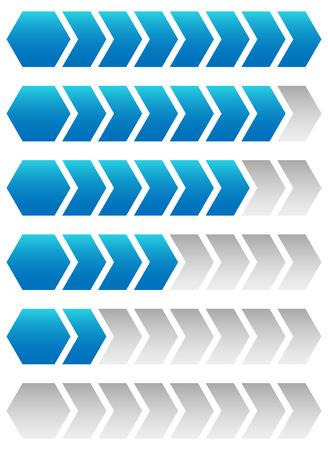 incremental: Progress, loading bars. Geometric step, phase indicators, meters.