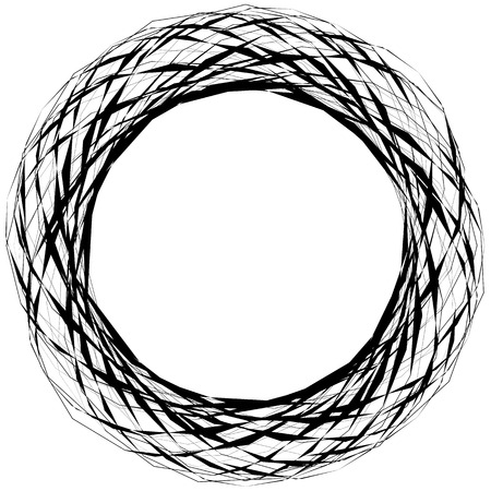 strain: Abstract edgy circular shape, element isolated on white. Random geometric lines forming a circle.
