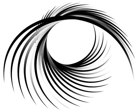 Dynamic lines with spiral distortion. Abstract monochrome geometric element. Asymmetric vortex, helix element.