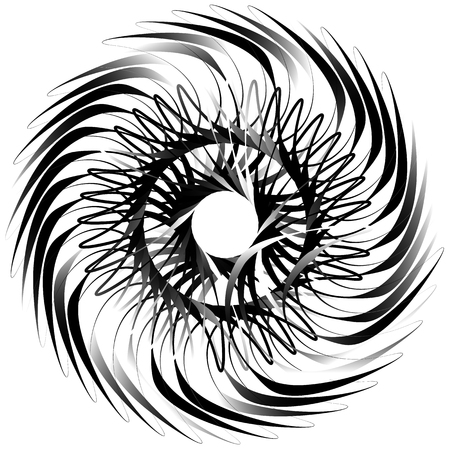 Spiral isolated on white. Rotating, concentric shape forming a geometric irregular helix
