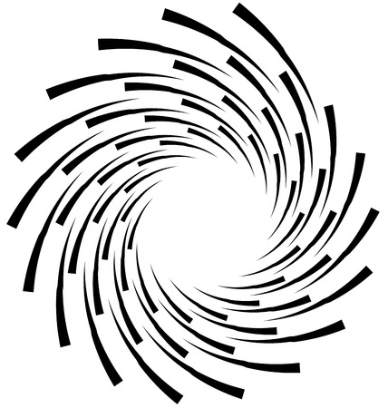 gyration: Spiral element. Concentric swirling shape with lines rotating inwards. Helix, volute illustration.