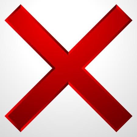 Rotes Kreuz-Symbol mit Abschrägungseffekt. Löschen, entfernen Symbol, Zeichen.