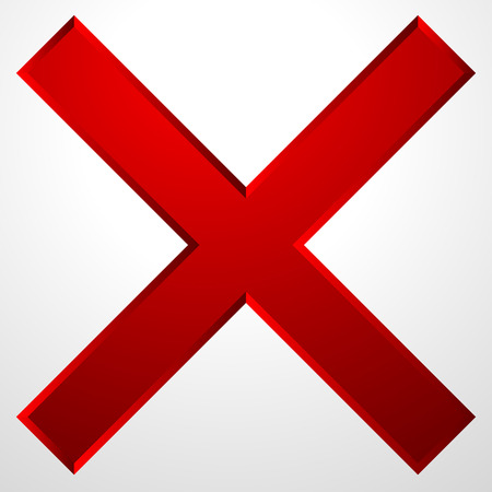 Red cross icon with bevel effect. Delete, remove icon, sign.