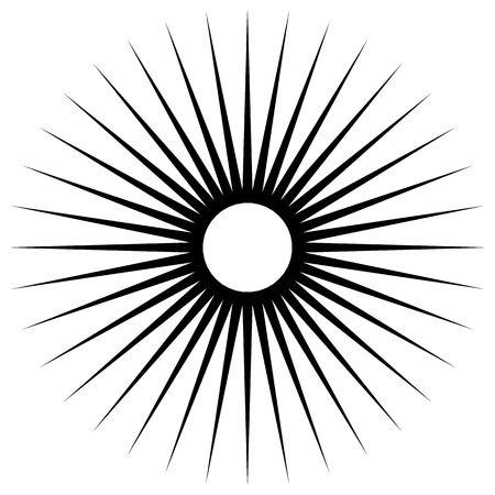 Abstract illustration of a circular pattern with radial, radiating lines. Illustration