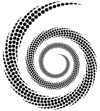 Dotted spiral element. Concentric swirling circles. Geometric abstract illustration Vektoros illusztráció