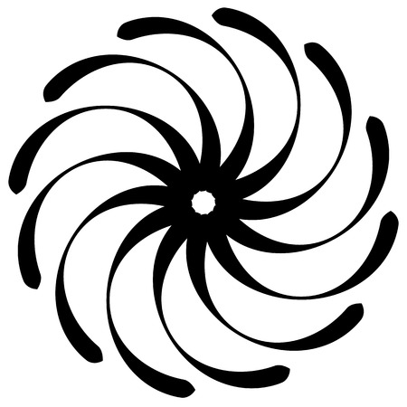 Spiral shape on white. Curved lines rotating from a centric point forming a circle. Abstract geometric element. Vortex, swirl illustration.