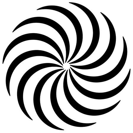 forme en spirale sur blanc. Les lignes courbes en rotation d'un point centré sur la formation d'un cercle. Abstrait élément géométrique. Vortex, tourbillon illustration.