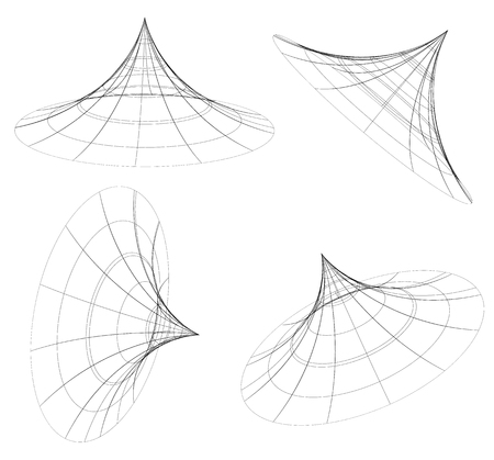 angles: Abstract 3d wireframe objects. 3d, spatial shapes set at 4 angles. Geometric elements.