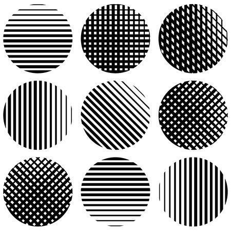 Set of half-tone lines in circles. Straight vertical, horizontal, diagonal and grid, mesh lines. Vetores