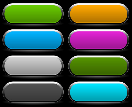 rounded: Shorter button, banner backgrounds with empty space for your text, message. Set of colorful, bright web design elements.