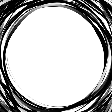 turmoil: Random scribble circles. Concentric circles in a hand drawn style. Abstract circular element.