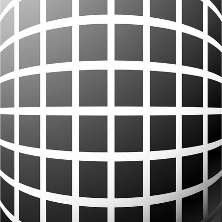 misshapen: Mosaic, grid of squares with distortion effect. Abstract grayscale pattern. Illustration