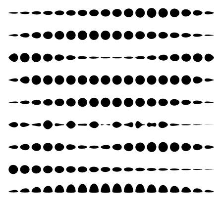 Conjunto de líneas divisorias horizontales hechas de círculos. Líneas punteadas.