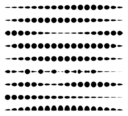 Set of horizontal divider lines made of circles. Dotted lines.