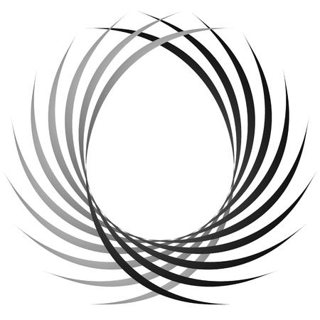 symmetric: Intersecting circular symmetric lines. Abstract geometric element