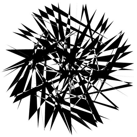 angled: Edgy geometric element, random shape. Abstract monochrome illustration.