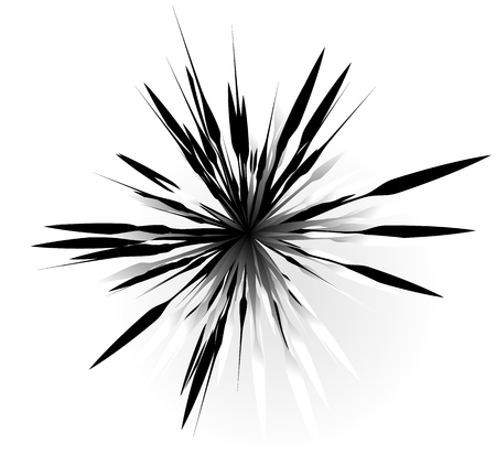 Random radial shape. Abstract geometric element. Asymmetrical unique shape.