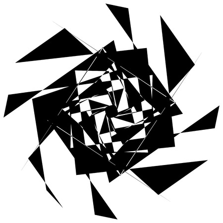 shatter: Edgy geometric element, random shape. Abstract monochrome illustration.