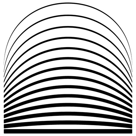 deformation: Set of lines with different level of deformation. Abstract geometric illustration.
