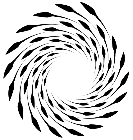 eddy: Spiral element. Concentric swirling shape with lines rotating inwards. Helix, volute illustration.