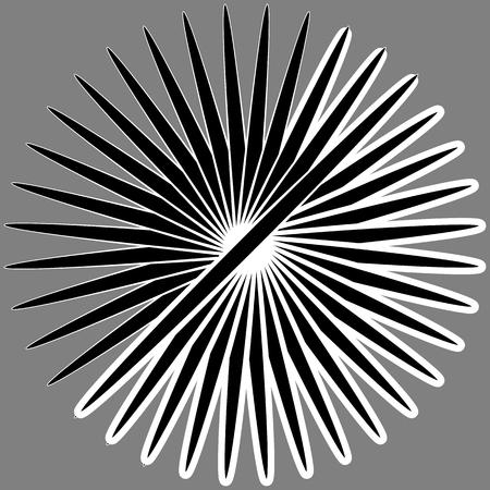 amorphous: Radial, radiating lines. Asymmetrical geometric element. Circular, bursting lines Illustration