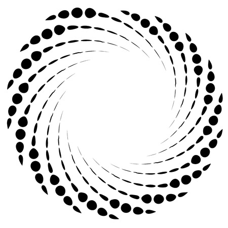 Dotted spiral element. Concentric swirling circles. Geometric abstract illustration