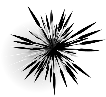 anomalous: Random radial shape. Abstract geometric element. Asymmetrical unique shape.
