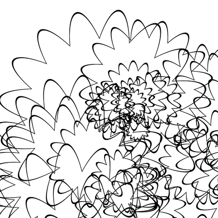 billowy: Curly random lines geometric, artistic illustration, monochrome geometric pattern