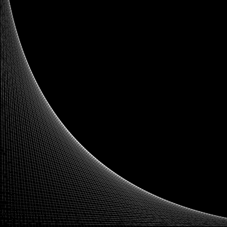 intersecting: Grid, mesh of intersecting lines with curve, arc spreading from the corner. Reticulate pattern with asymmetry. Abstract monochrome illustration.