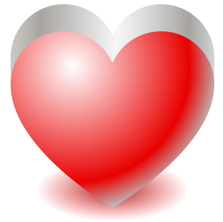 haert: 3d red heart shape illustration Love, affection, Valentines Day concepts.
