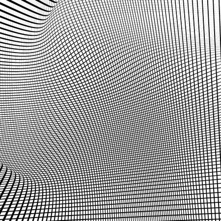 reticulation: Dynamic lines grid. Monochrome geometric pattern, abstract texture