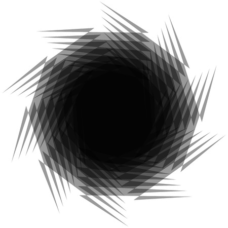 whirling: Circular radial element isolated on white. Spinning, whirling abstract geometric shape.