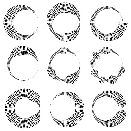 deformed: Geometric circular dotted elements with distortion. 9 different shape. Deformed monochrome circles.